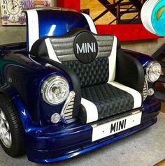 Classic Mini Cooper Sofa Perfect For Home Cinema Like A Drive Thru Movie Etc Garage Furniture, Car Part Furniture, Automotive Furniture, Automotive Decor, Drive Thru Movie, Union Jack, Mini Cooper Sport, Car Part Art, Old Car Parts