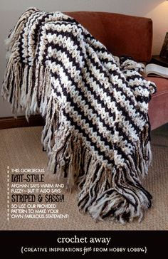 Hobby Lobby Project - Crochet Away - crochet, afghan, afghan pattern, patterns, striped, striped pattern, striped afghan, striped afghan pat...