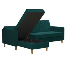 Liberty Sectional/Futon with Storage Green Velvet - CosmoLiving by Cosmopolitan Sleeper Sectional, Chaise Sofa, Couch, Green Velvet Fabric, Bed Dimensions, Small Space Solutions, Storage Compartments, Seat Cushions, Storage Spaces