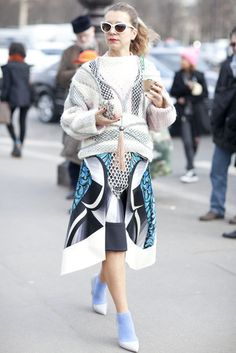 Très Chic! The Best Street Style at Paris Fashion Week: Natalie Joos sported her signature eclectic, high-fashion brand of styling.