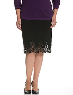 Elegant mid-length skirt exudes feminine confidence with a sheer lace hem detailed with sophisticated sequin accents for so-subtle shine. Our smooth Tailored Stretch fabric offers a beautiful drape with just the right amount of stretch to hug where it matters. Vented back. Hidden zipper closure. lanebryant.com
