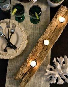 kerzenhalter aus treibholz auf dem tisch - Wunderbare Treibholz Deko, die auch praktisch sein kann – 45 verblüffende Ideen