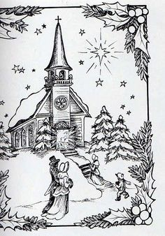 Coloring for adults - Kleuren voor volwassenen Christmas Coloring Pages, Coloring Book Pages, Coloring Sheets, Christmas Colors, Christmas Art, Xmas, Parchment Cards, Wood Burning Patterns, Christmas Drawing