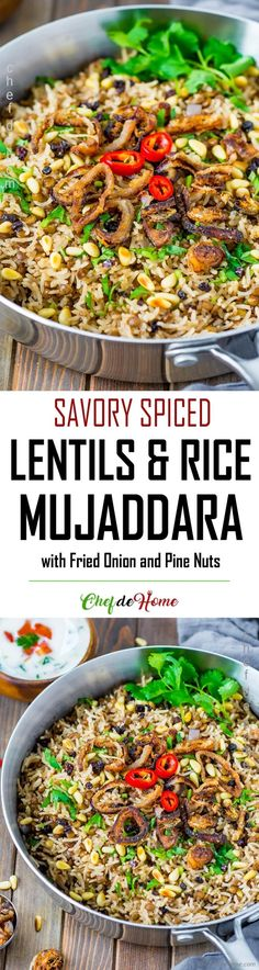 Mujaddara - Spiced Lentils and Rice - Savory and spiced, this flavorful Mediterranean Lentils and Rice make delicious vegetarian Monday dinner. Gluten free and Vegan