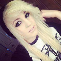 Blonde scene hair with beenie