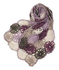 Loving this Purple Floral Crochet Wool-Blend Scarf on #zulily! #zulilyfinds