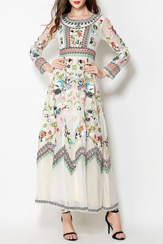 Floral Embrodery Evening Dress