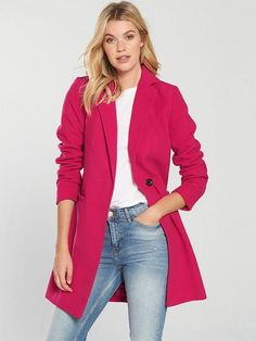 V by Very Slim Fit Single Breasted Coat - Pink Women's Leggings, Casual Outfits, Trousers, Slim, Blazer, Single Breasted, Coat, Pink, Jackets