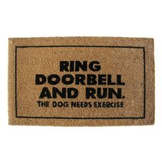 Geo Crafts Ring Doorbell And Run Doormat - G147
