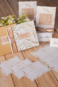 Wedding invitation cards with beautiful hot stamping gold pattern. Hard cover and custom inside cards are right for you.