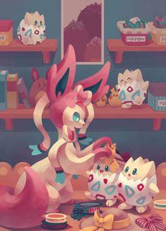 Sylveon and Togepi! Some of the cutest pokemon! Pokemon Gif, Pokemon Fusion, Pokemon Fan Art, Pokemon Fairy Type, Pokemon Eeveelutions, Eevee Evolutions, Wallpaper Pokémon, Totoro, Digimon