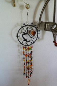 Halloween tree of life sun catcher, beaded wire wrapped, spider beads