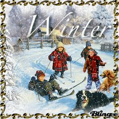 Winter Vintage Children Play in Snow