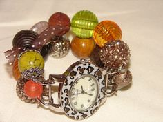 EarthTone Chunky Beaded Watch Band and Face  by BeadsnTime on Etsy, $30.00
