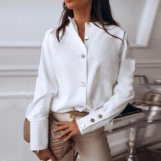 Round Neck Single Breasted Plain Blouse - ininrubyclub.com Shirts & Tops, Shirt Blouses, Casual Shirts, Women's Tops, Satin Blouses, Work Shirts, Streetwear Mode, Streetwear Fashion, White Shirts Women
