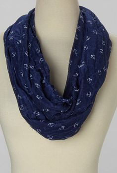 Navy & Ivory Anchor Infinity Scarf