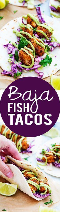 Oh the yumminess: Baja Fish Tacos - Creme De La Crumb Fish Recipes, Seafood Recipes, Mexican Food Recipes, Cooking Recipes, Healthy Recipes, Tilapia Recipes, Cooking Tips, Fish Dishes, Vegetarian