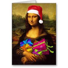 Mona Lisa Santa Claus Greeting Cards