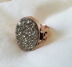 Antique Victorian 1880s 14K Rose Gold and Pyrite Ring - Decorative Lyre and Clover Shoulders