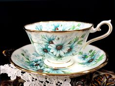 Royal Albert Marguerite Teacup and Saucer, Avon Shaped High Handled Wide Mouthed Tea Cup J-