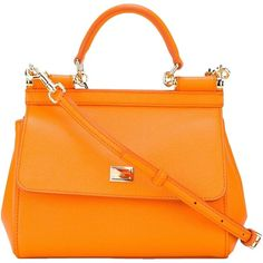 Pre-owned Dolce&gabbana Small 'sicily' Leather Shoulder Bag ($1,250) ❤ liked on Polyvore featuring bags, handbags, shoulder bags, orange, handbags totes, orange leather purse, orange leather handbag, tote handbags and leather tote