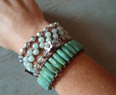 Boho Chic Crochet Bracelet - SlashKnots Stackers Crystal Clear — 1 Bracelet — by SlashKnots (Can be worn alone or as seen here — stacked and worn in layers!)