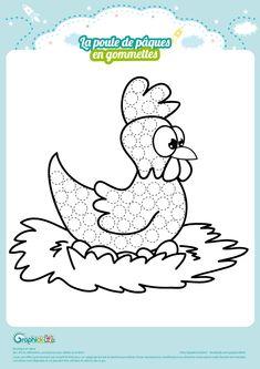 Une dernière activité sur le thème de pâques avec un tout nouveau visuel d'une petite poule couveuse.  A toi de remplir de gommettes et éventuellement de colorier pour donner des couleurs à cette mignonne petite poule.    GraphiCK-Kids vous souhaite