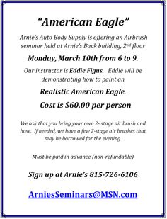 Airbrush Seminar Monday, March 10th, 2014