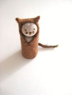 Little Cat Sprite - Hand Embroidered Wool and Wood - Waldorf Inspired.