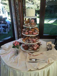 Vintage Gardens Modesto, CA Wedding, garden wedding, Central Valley, Stanislaus county, redwood cafe, Ripon, Turlock, Manteca, Stockton, California, ceremony, reception, cake table, doughnut tower, cake, burgundy, Marsala