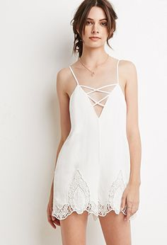 Strappy Crochet-Paneled Romper | Forever 21 | #thelatest
