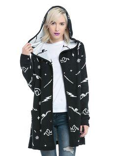 DO NOT APPROVE UNTIL 10/31 Harry Potter Symbols Girls Hooded Flyaway Cardigan, BLACK