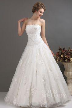 Graceful+A-Line+Strapless+Court+Train+Organza+Wedding+Dress+CWZT1301D