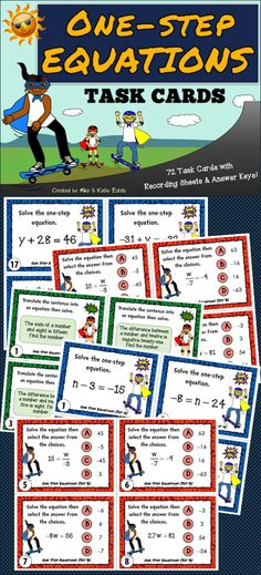 This pack contains a total of seventy-two (72) task cards divided into three (3) sets. You may use these task cards to introduce, provide practice, or test your students' understanding on the topic of One Step Equations.