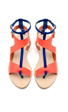 48c7af18f Color block sandals / loeffler randall Neon Sandals, Block Sandals, Cute  Sandals, Flat