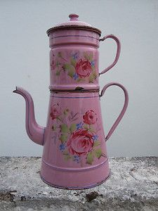 Vintage c.1920 French enamel cafetiere