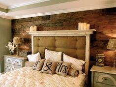 Bedroom idea - framed padded headboard with ledge, plank walls