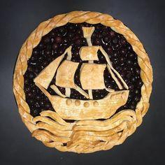 Ship shape blueberry pie