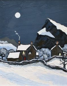 David BARNES artist, paintings and art at the Red Rag British Art Gallery Moonlight Painting, Painting Snow, Winter Painting, Winter Art, Landscape Art, Landscape Paintings, Batik Art, Modern Art Paintings, Unusual Art