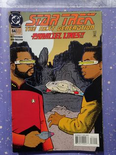 EUC Star Trek The Next Generation DC Comic Book 64 Oct 94 Parallel Lines! 1994 Comic book has been in sleeve since purchase. It appears to be in very good - near mint condition, but I have not opened the packaging to view the inner pages. Comic Book List, Dc Comic Books, Comic Book Covers, Comic Art, Comics Online, Dc Comics, Rick And Morty Poster, Star Trek Series, Star Trek Universe