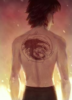 Boy with the Dragon Tattoo ~ HTTYD fan art of older Hiccup with Night Fury back piece | by RocketSurgery @ tumblr