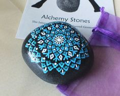 Throat Chakra Stone, Hand Painted Sky Blue Star Mandala Design by Alchemy Stones Mandala Dots, Mandala Design, Dot Painting, Stone Painting, Painted Rocks, Hand Painted, Like A Rock, Throat Chakra, Chakra Stones