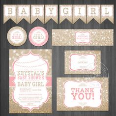 Pink and Gold Baby Shower DIY Printable Mini by DesignsbyCassieCM, $25.99