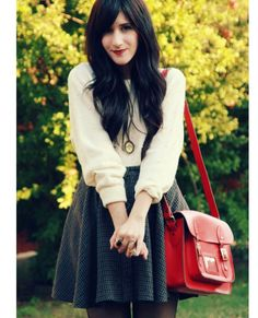 Fall fashion skirt and sweater.