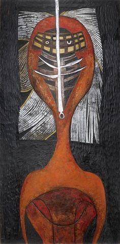 Cecil Skotnes - Shaka; Medium: painted and incised panel; Dimensions: 59.84 X…