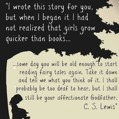 """C.S. Lewis wrote the following dedication in his novel, """"The Lion, the Witch and the Wardrobe"""" to his goddaughter, Lucy Barfield"""