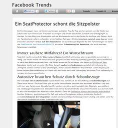 Auf Facebook-Trends.de findet ihr hier einen coolen Bericht über unsere Seatprotectoren. Die Jungs von Facebook-Trends.de nehmen die Schonbezüge für den Autositz hier einmal etwas genauer unter die Lupe. Aber lest selbst: