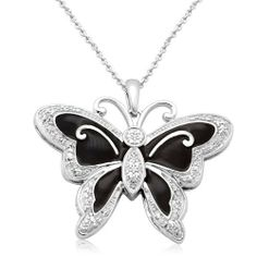 """Sterling Silver Black Enamel Butterfly Diamond Pendant Necklace (1/10 cttw, I-J Color, I2-I3 Clarity), 18"""" Amazon Curated Collection. Save 55 Off!. $80.00. Made In India. All our diamond suppliers certify that to their best knowledge their diamonds are not conflict diamonds.. The total diamond carat weight listed is approximate. Variances may be up to .05 carats."""