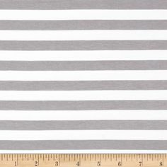 """Riley Blake Jersey Knit 1/2"""" Stripes Gray from @fabricdotcom  From Riley Blake Fabrics, this lightweight stretch cotton jersey knit fabric features a smooth hand and four way stretch for added comfort and ease. With 50% stretch across the grain and 25% vertical stretch, it is perfect for making t-shirts, leggings, loungewear, yoga pants and more! It features printed horizontal stripes."""