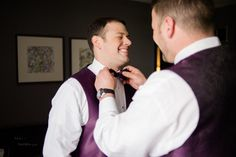 Maryland Zoo Wedding — East Made Event Company and Meghan Rose Photography. Purple vest and bowtie groom getting ready.